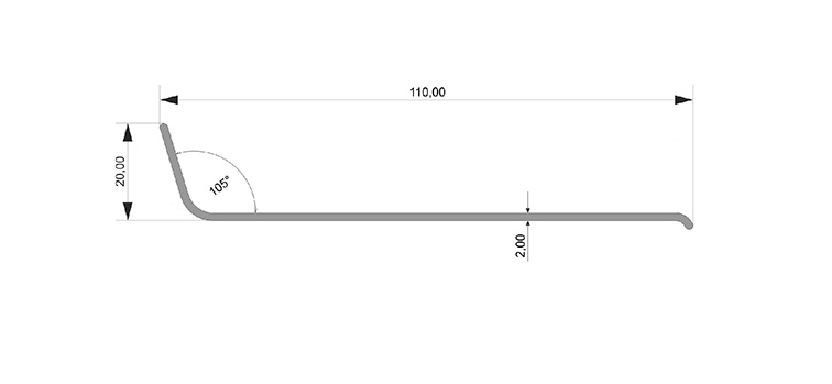 Чертеж: Угол ПВХ 110*20*2 — 106° FORMADA®