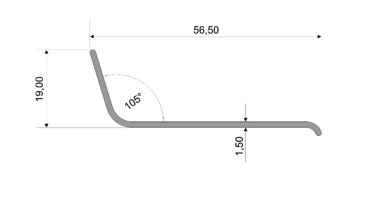 Чертеж: Угол ПВХ 50*20*2 — 106° FORMADA®