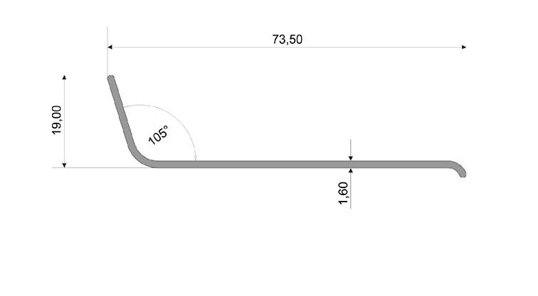 Чертеж: Угол ПВХ 70*20*2 — 106° FORMADA®